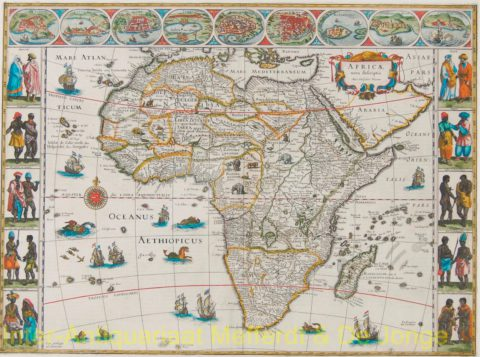 Africa antique map – Bleau, c. 1640