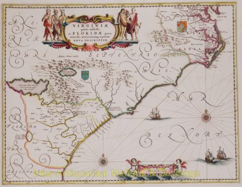 North America, Virginia, East coast antique map – Blaeu