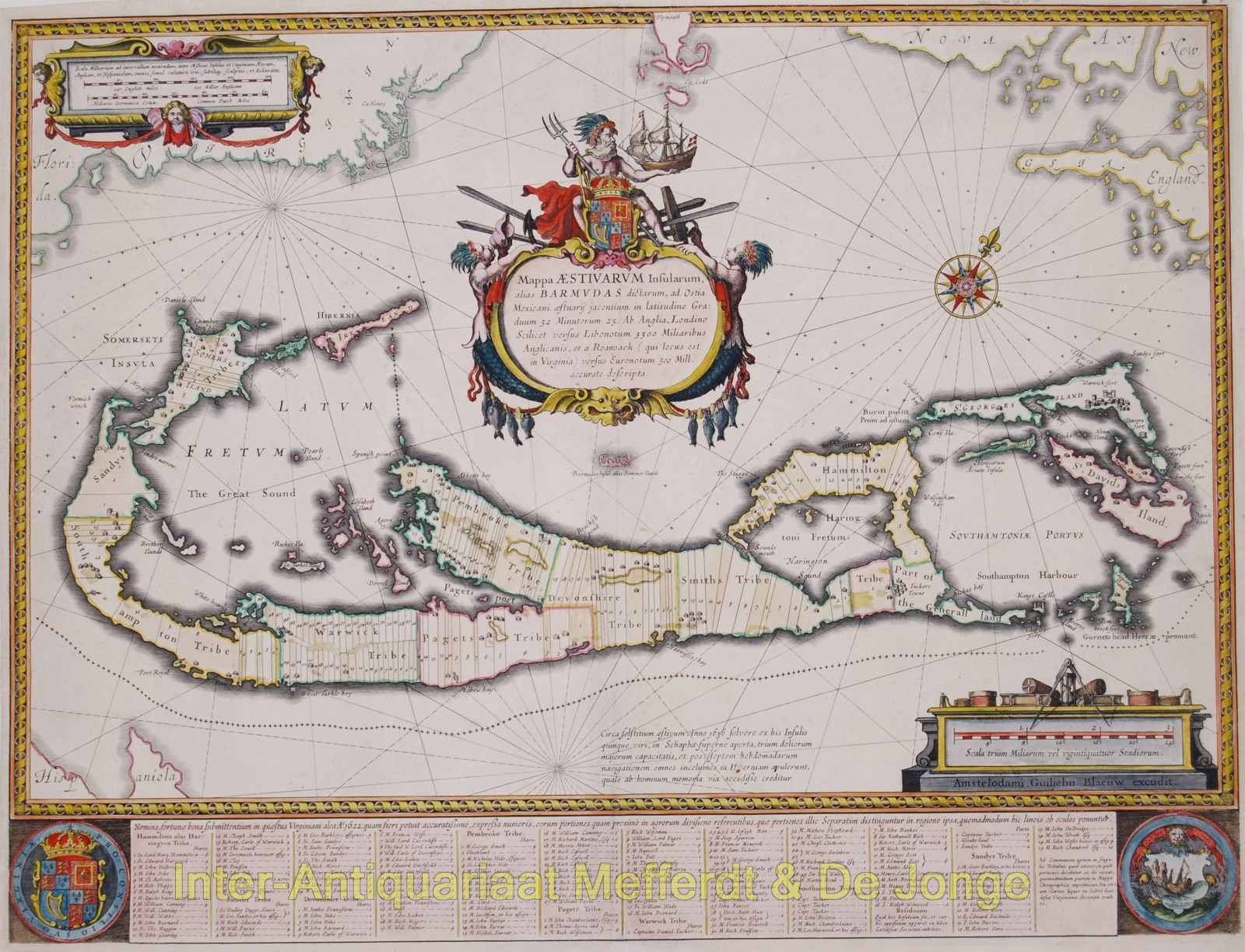 Bermuda map - Blaeu - Inter-Antiquariaat Mefferdt & De Jonge