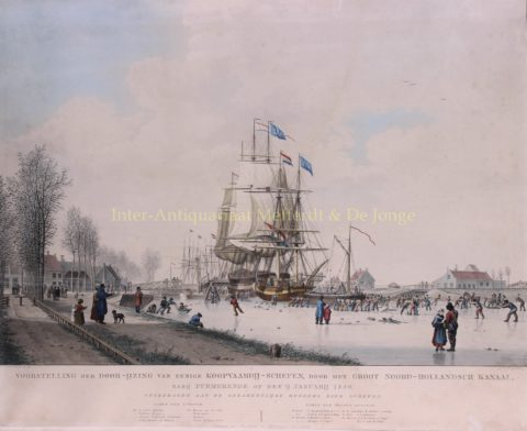 Frozen Noordhollandsch Kanaal – after J.H. Koekkoek, 1830