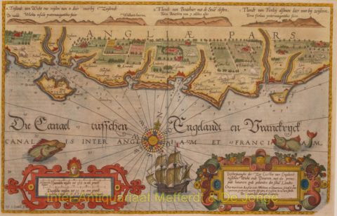 England, coastal chart between Wight and Dover – Waghenaer