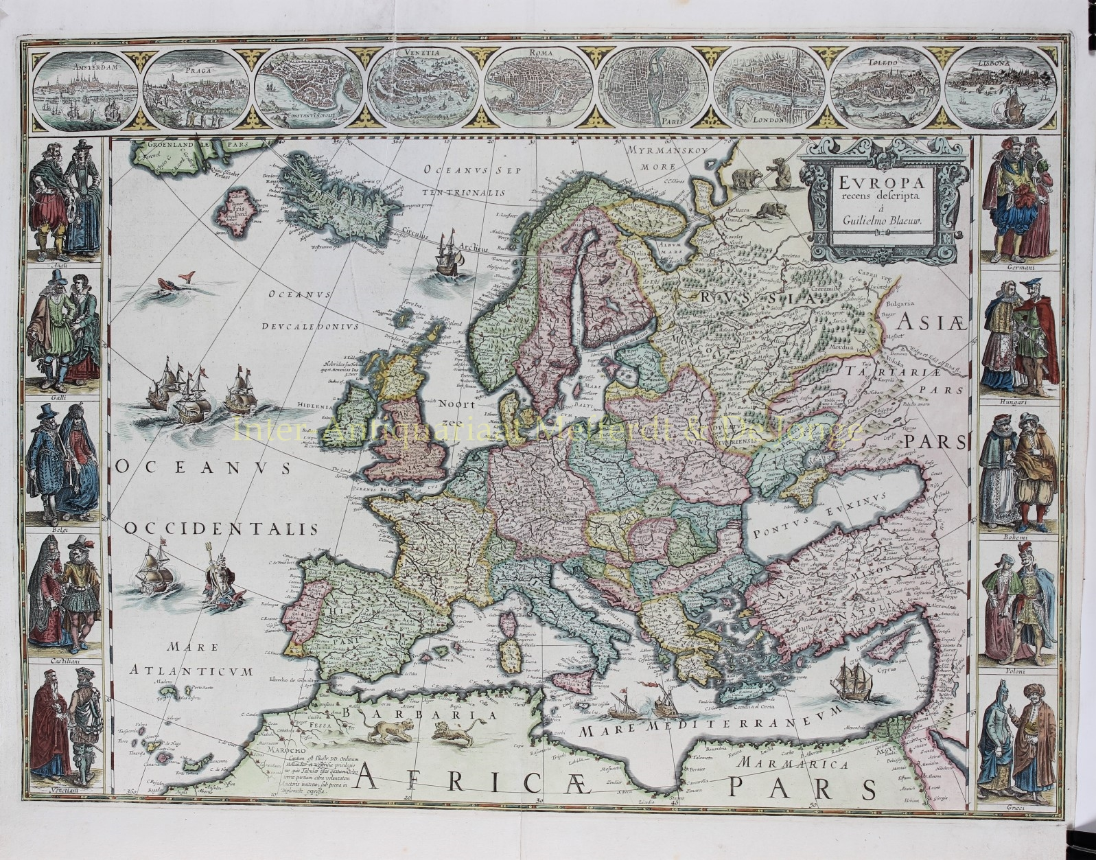 Blaeu World Map.Map Of Europe Rare Antique Print Original Engraving 17th Century