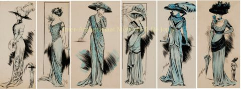 Fashion design drawings, Olga Behr 1908-1910