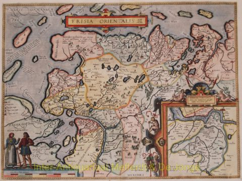 East Friesland antique map – Ortelius, 1598