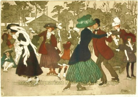 Pierre Gatier- ice skating in the Bois de Boulogne, 1908