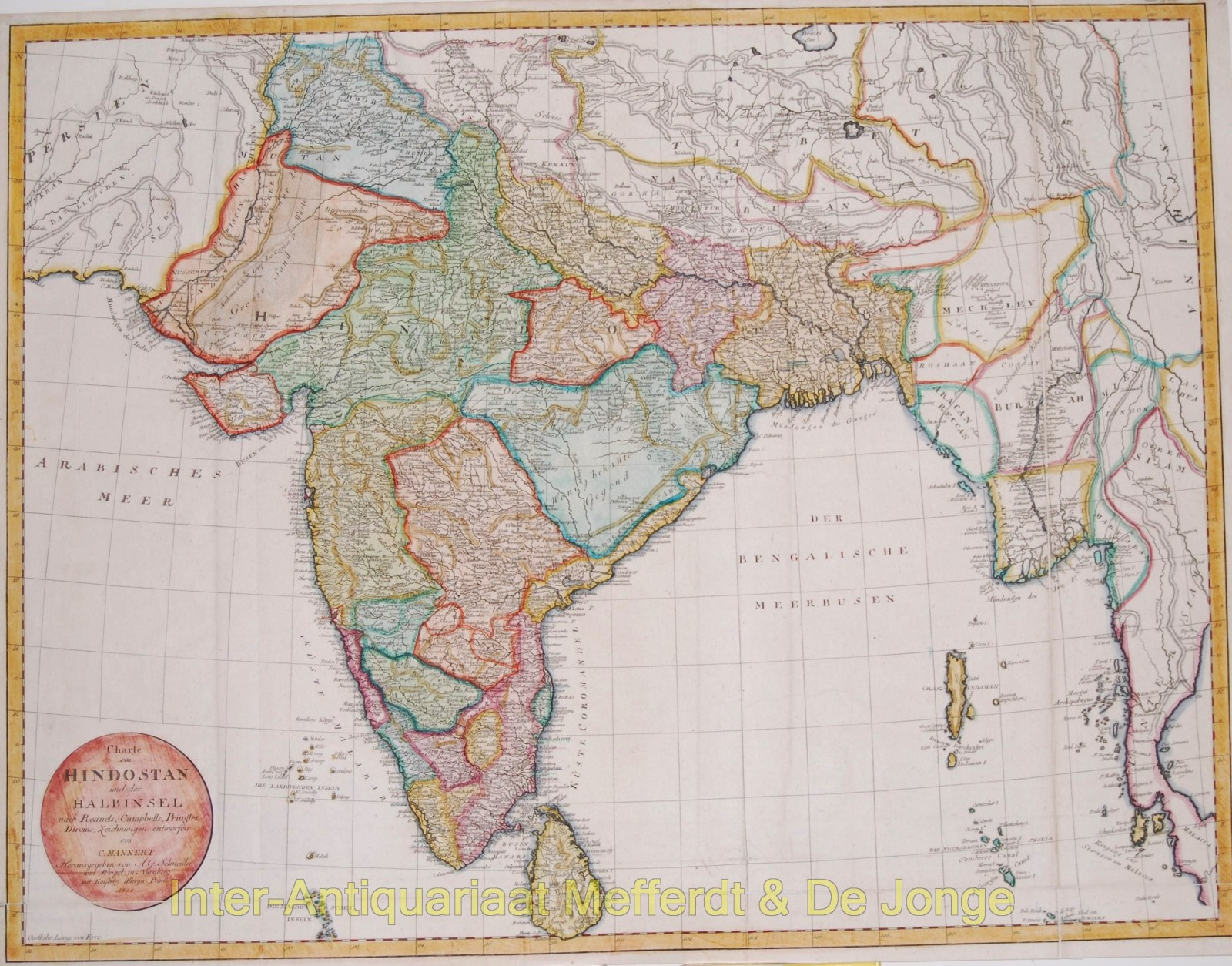 India antique map - Mannert, 1804 - Inter-Antiquariaat Mefferdt & De on