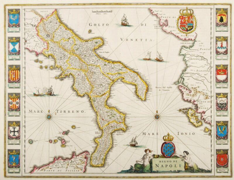Kingdom of Napels – Blaeu, c. 1640
