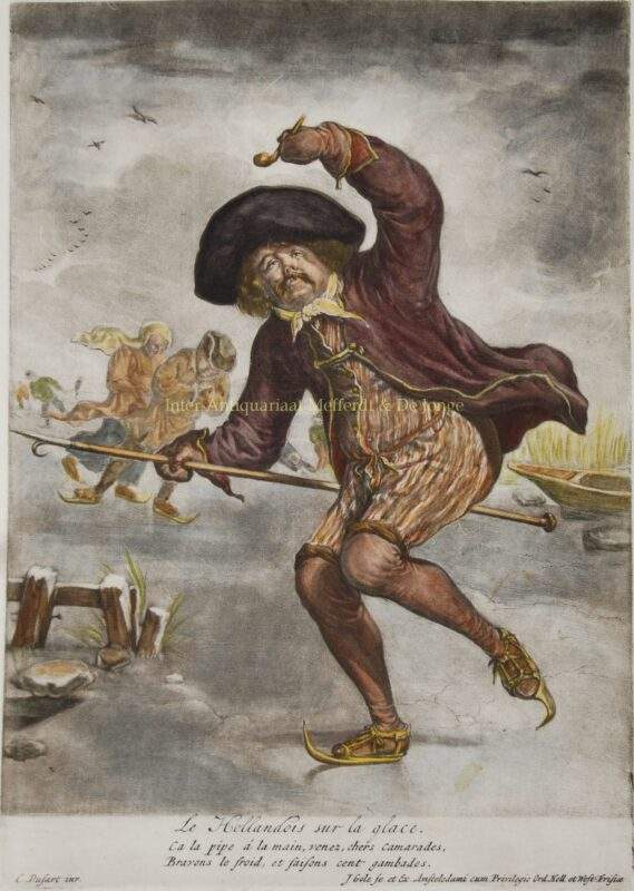 Dutch ice skaters – Jacob Gole after Cornelis Dusart, c. 1700