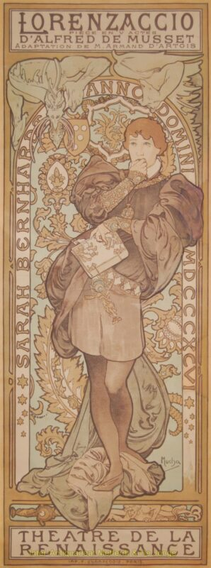 Lorenzaccio (Sarah Bernhardt) – Alphonse Mucha, 1896