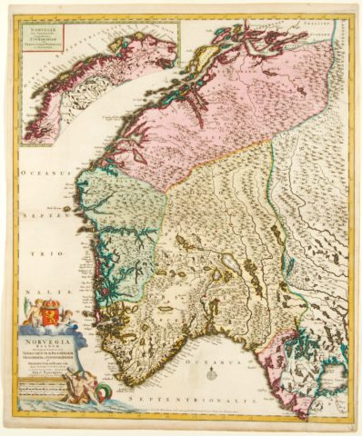 Norway antique map – Danckerts, c. 1696