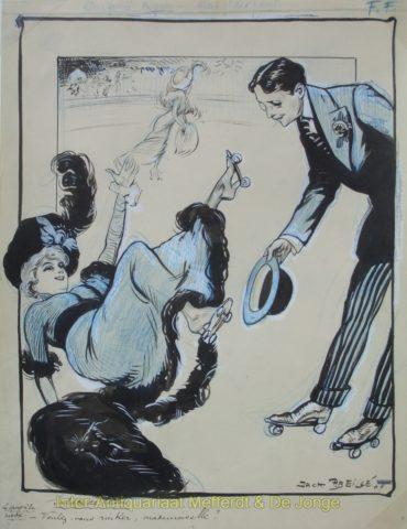 Patinage à roulettes, roller skating – Jack Abeillé, 1909