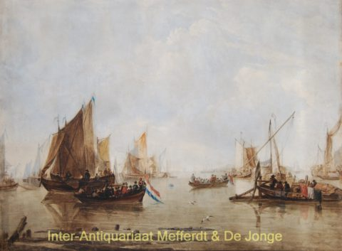 Calm estuary with Dutch ships – Luis Haghe after Jan van de Capelle, c. 1880