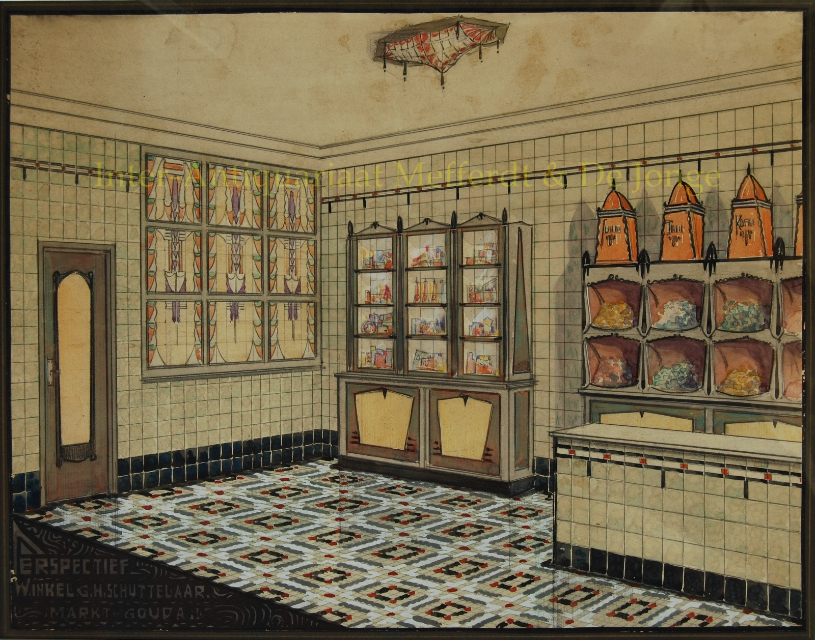 amsterdamse school design for shop interior ca 1920