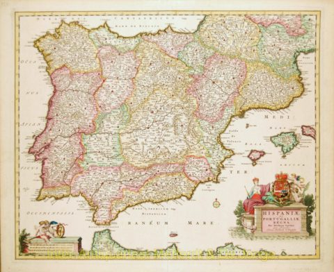 Spain, Portugal map – Visscher, 1680