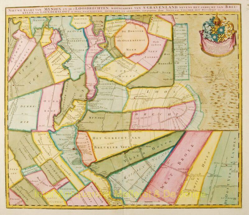 Vechtstreek antieke kaart – Petrus Schenk, c. 1720
