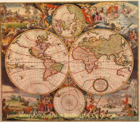 World map – Romein de Hooghe, David Funcke, c. 1700