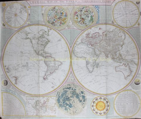 World, rare 18th century wall map