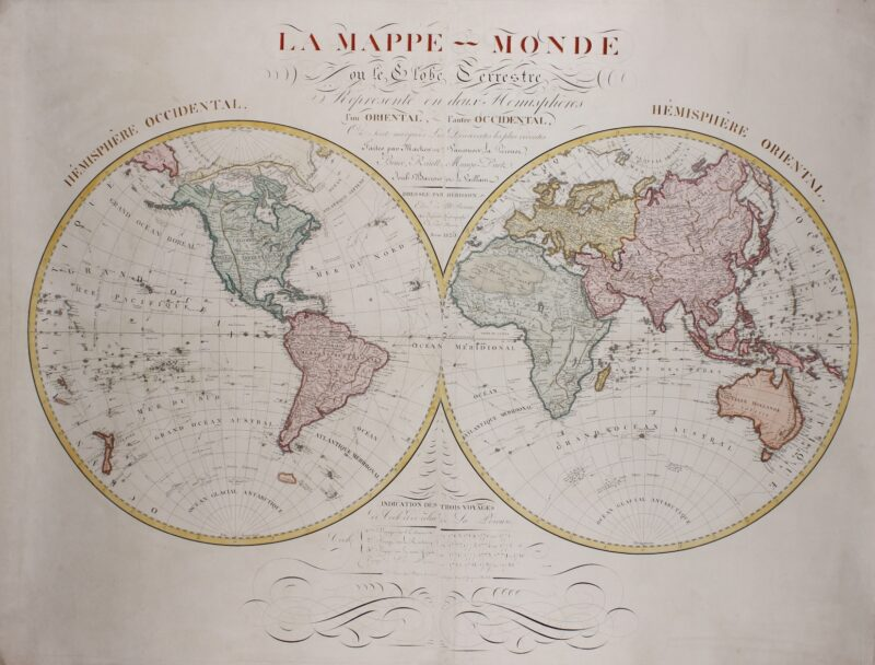 Wall map of the world – Eustache Hérison, 1825
