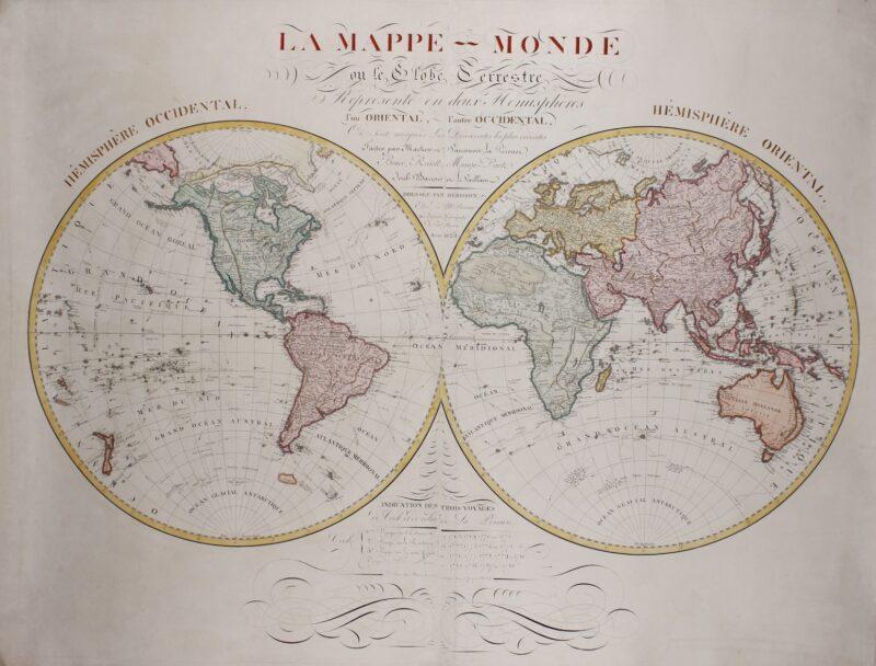 Wall map of the world – Eustache Hérison, 1825