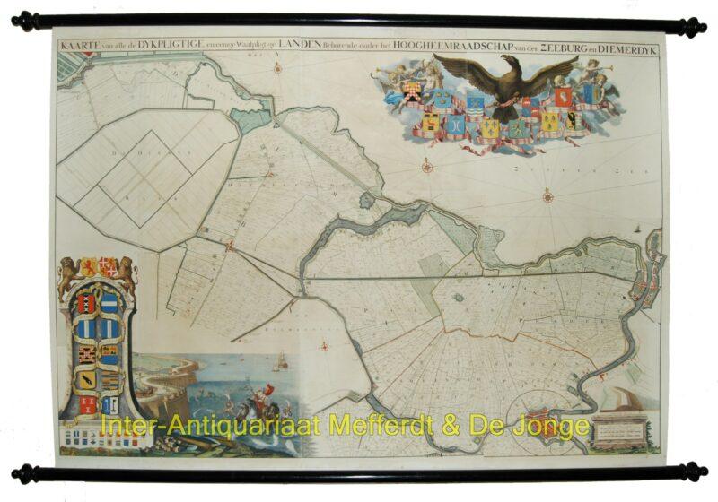 Zeeburg en Diemerdijk – wandkaart Jan Wandelaar