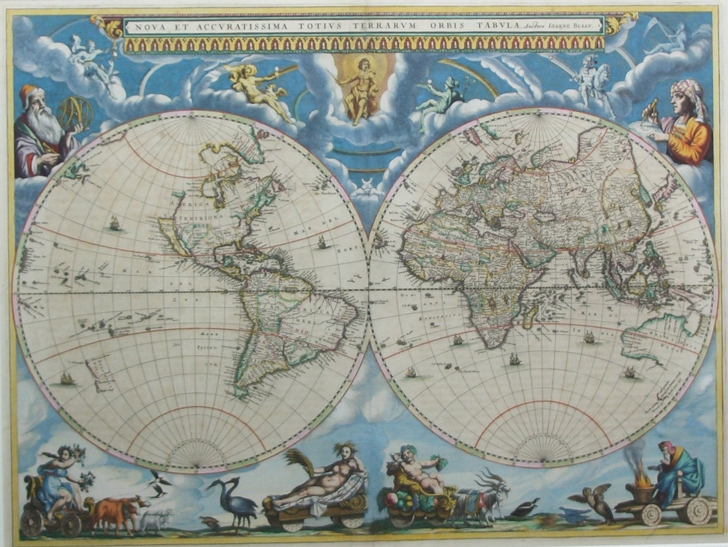 Blaeu World Map.World Map Blaeu 1662 Inter Antiquariaat Mefferdt De Jonge
