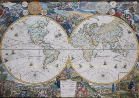 Wall map of the world – Louis Charles Desnos after Nicolas de Fer, 1760