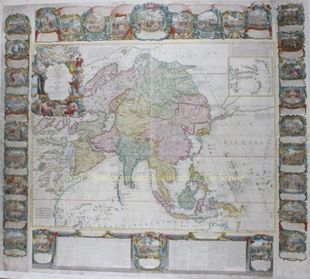 18th century wall map of Asia