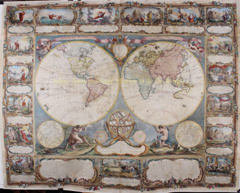 World map, wall map- Gobert-Denis Chambon, Jean Janvier, S.G. Longschamps, 1754