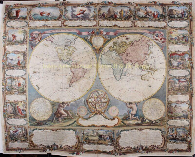 World map, wall map- Gobert-Denis Chambon, Jean Janvier, S.G. Longschamps, 1754