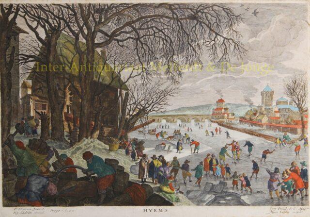 Winterlandschap met ijsvermaak bij Mechelen - Egidius Sadeler