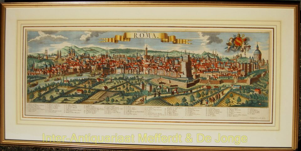 Rome antique panoramic view with original colouring - Probst aft