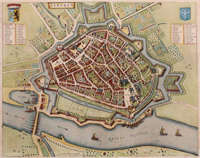 17e-eeuwse plattegrond van Arnhem door Joan Blaeu