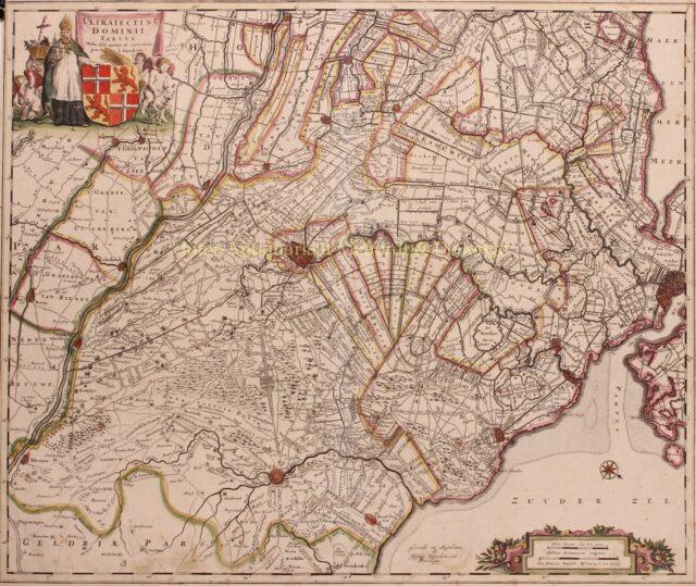 kaart van Utrecht uitgegeven door Justus Danckerts in 1700