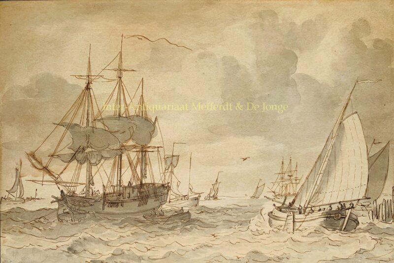 Ships in an estuary – Gerrit Groenewegen, c. 1800