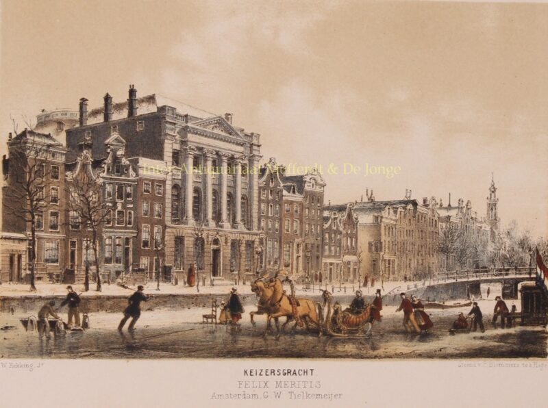 Ice skating on Keizersgracht – P. Blommers after Willem Hekking jr., 1869