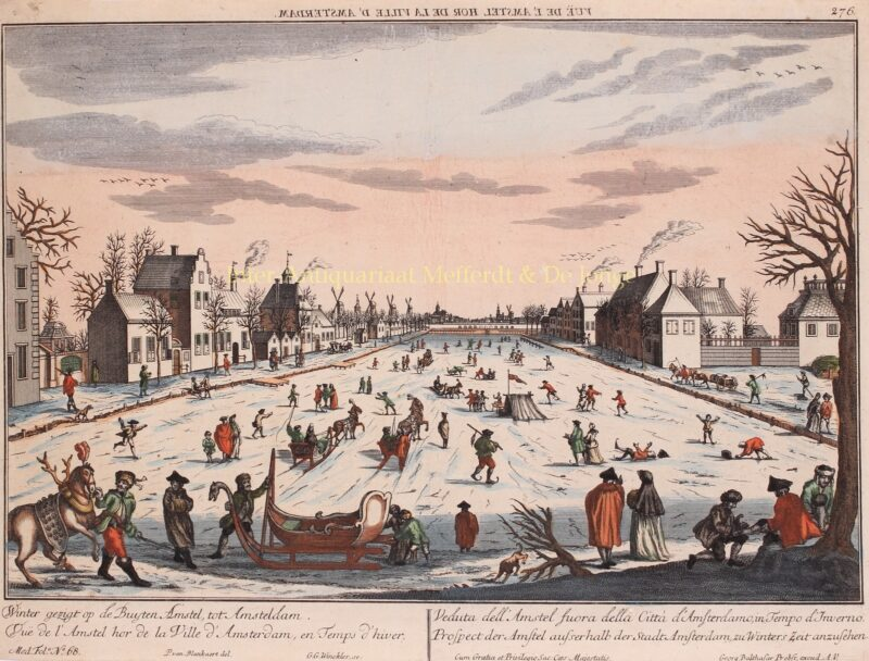 Frozen Amstel river- Georg Gottfried Winckler after Peter Blanckert, ca. 1760