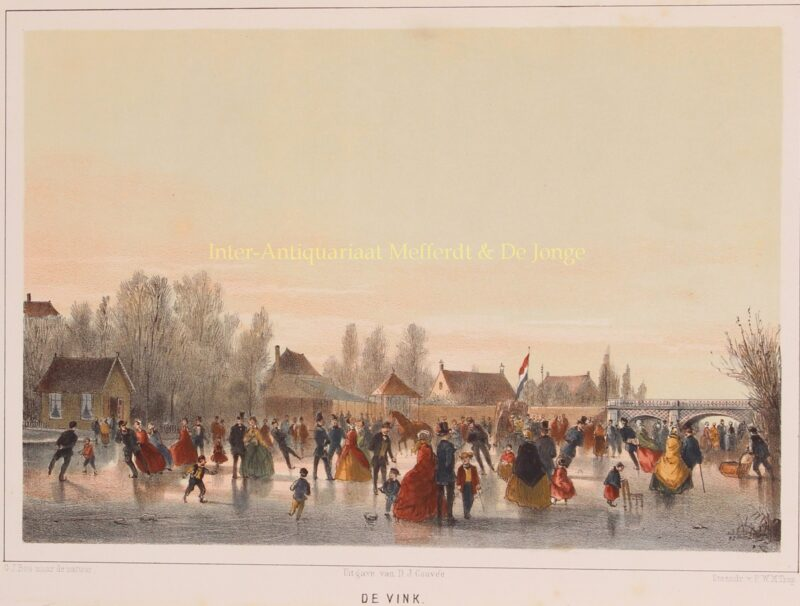 Ice skating on the Galgewater (Leiden), Pieter Trap after Gerard Bos.ca. 1847
