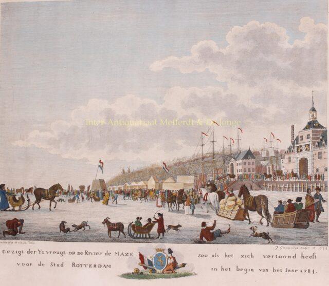oude gravure schaatsen op de Maas voor Rotterdam 1784