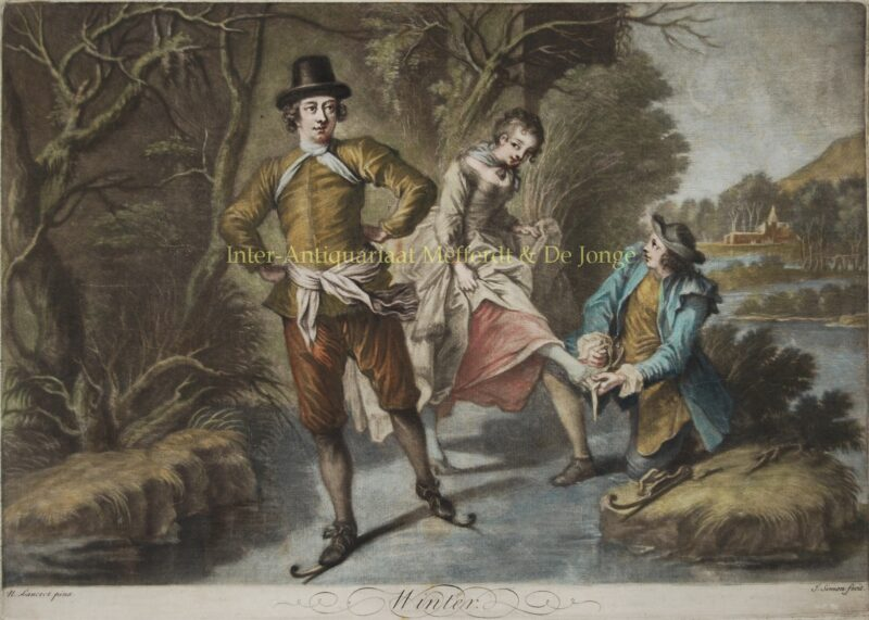 On ice skates – Jean Simon after Nicolas Lancret, first half 18th century
