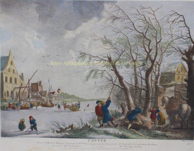 winterlandschap 18e-eeuwse ets naar schilderij Philips Wouwerman