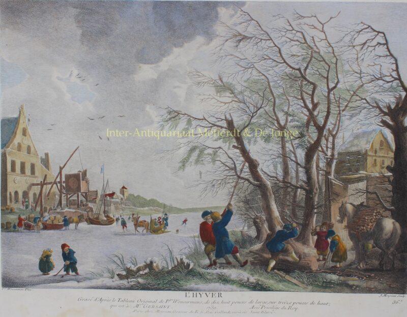 Winter landscape – Jean Moyreau after Philips Wouwerman, 1739