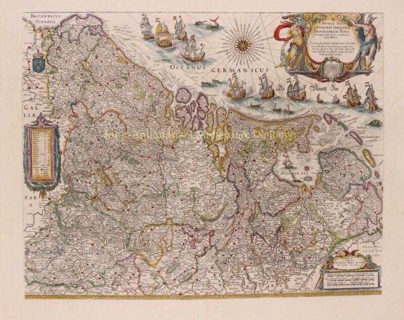 antieke kaart van de Zeventien Provincien door Willem Blaeu
