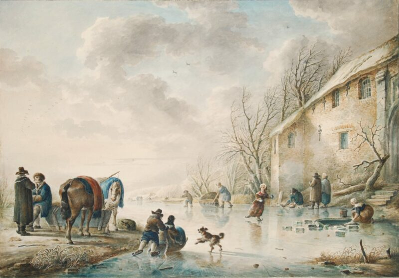 Dutch winter scene – Reiner Craeyvanger (attrib.), 19th century