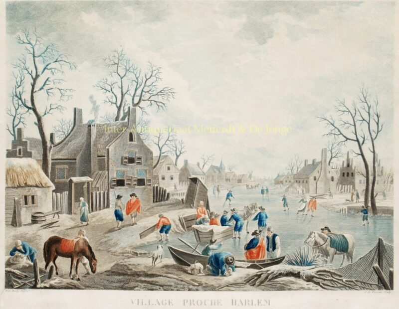 Winter scene Haarlem – Jean Charles Levasseur, after Jan Frans van Bredael, c. 1770