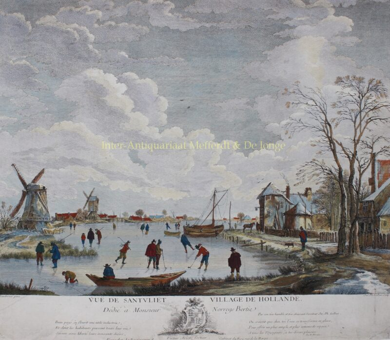 Dutch ice skating scene – Jacques-Philippe le Bas after Adriaen van Drever, ca. 1780