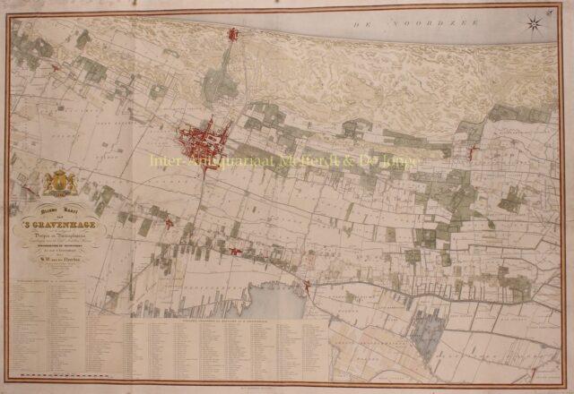 19e-eeuwse kaart van Den Haag en Wassenaar
