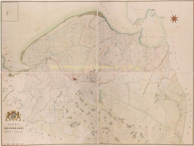 19e-eeuwse wandkaart van Groningen