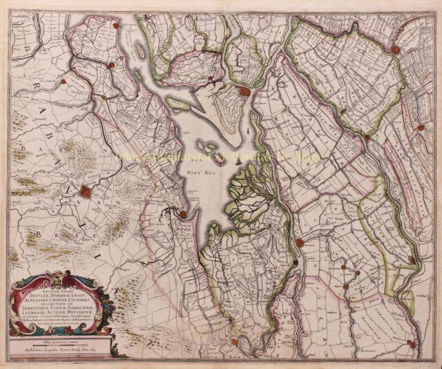 oude kaart van de Biesbosch