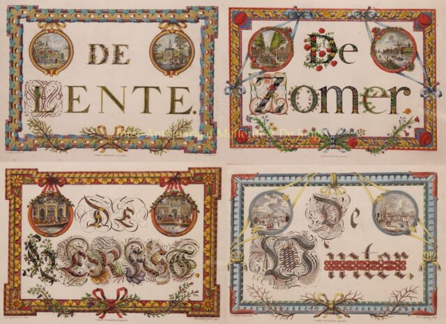 kalligrafie vier seizoenen Amsterdam 18e-eeuw
