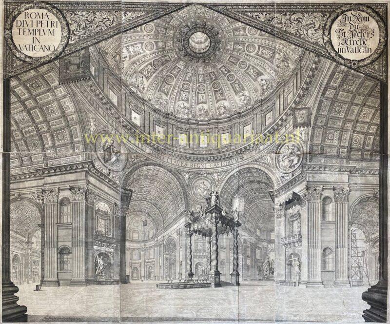 St. Peter's Basilica interior – Johann Ulrich Kraus after Johann Andreas Graff, 1696